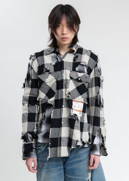 Mihara Yasuhiro Broken Layered Check Shirt - Black