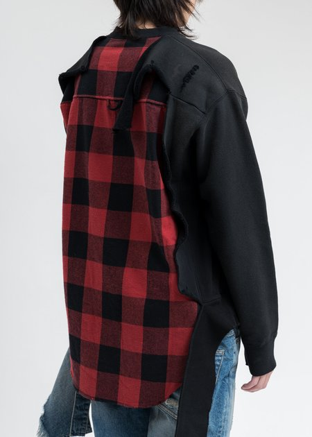 Mihara Yasuhiro Shirt Combined Pullover Sweater - Black