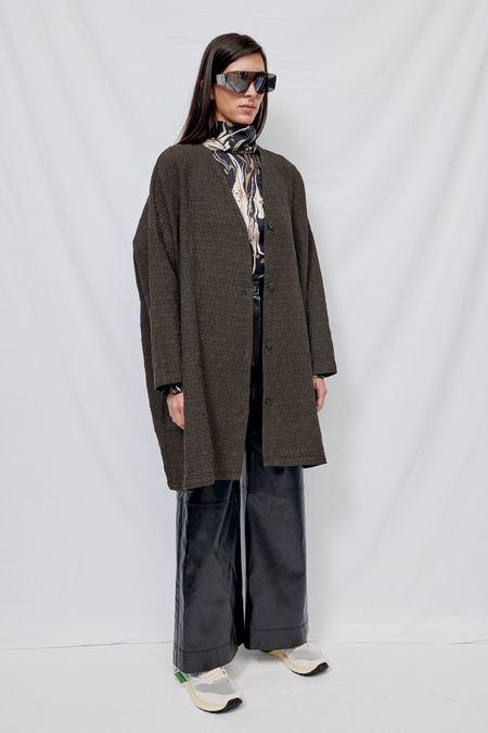 Black Crane Quilted V-Neck Jacket - Dark Grey