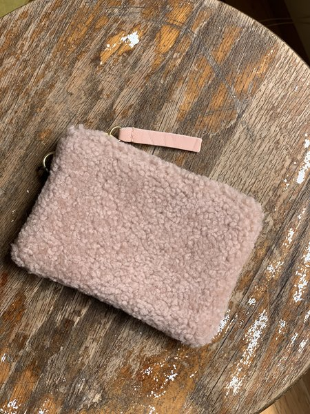Primecut Shearling Coin Pouch - Blush