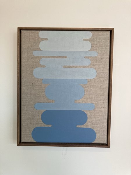 Alison Schopmeyer Framed Original Painting - Walnut/Sea