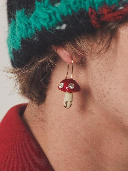 Marni Hand-painted  Mushroom Earrings - Gold & Crystal