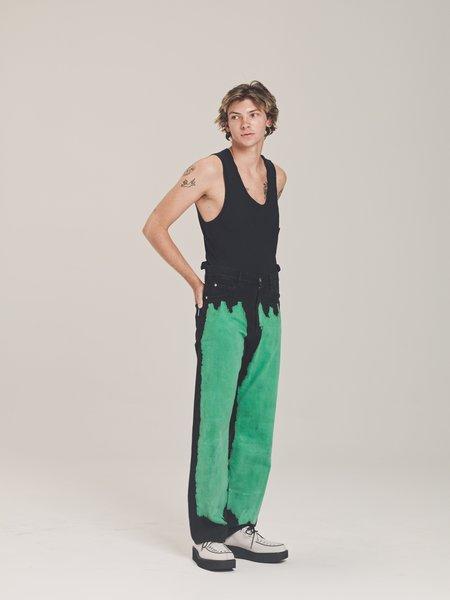 Marni  Bleached Front Wide Fit Denim - Black/Mint Green