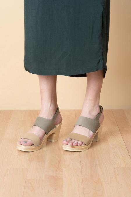 No.6 High Heel Harper Clog In Cement/Mocha