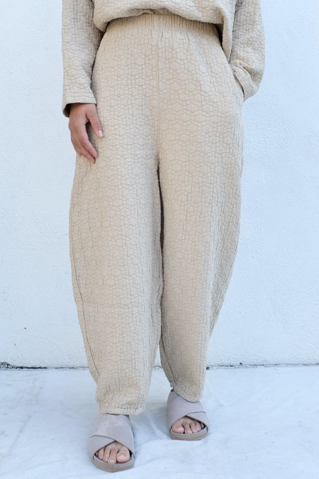 Black Crane Quilted Wide Pant - Natural