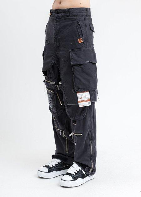 Mihara Yasuhiro Layered Combined Military Pants - Black
