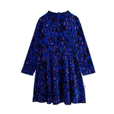 kids mini rodini leopard velour dress - blue