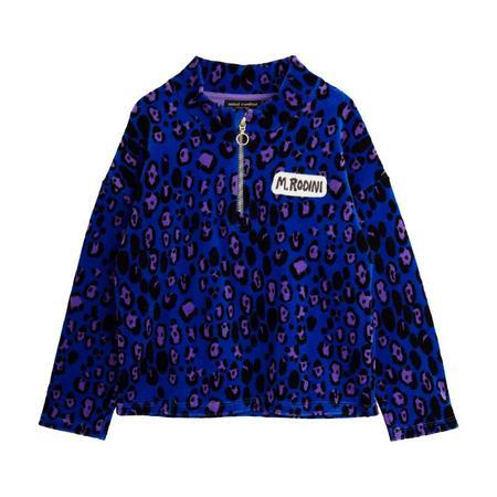kids mini rodini leopard velour halfzip sweater - blue