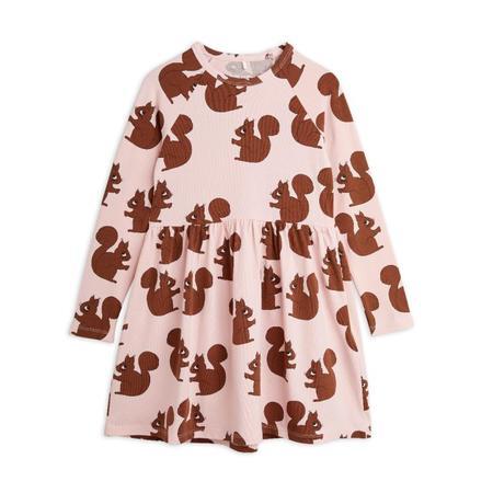 Kids mini rodini squirrel aop long sleeve dress - pink