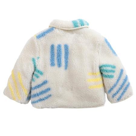 kids Bobo Choses All Over Scratch Print Sheepskin Jacket - Cream