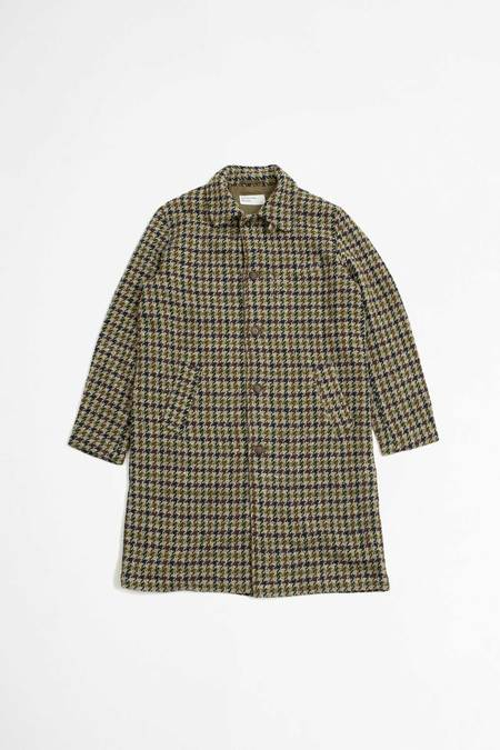 Universal Works Recycled tweed overcoat - olive