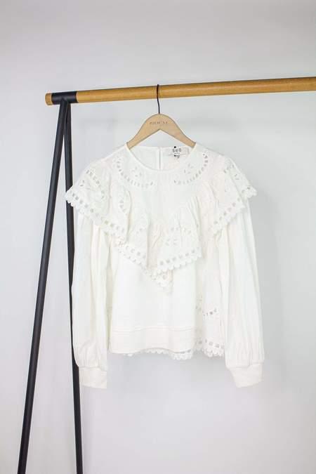 Sea NY Santos Eyelet Longsleeve Sweatshirt - White