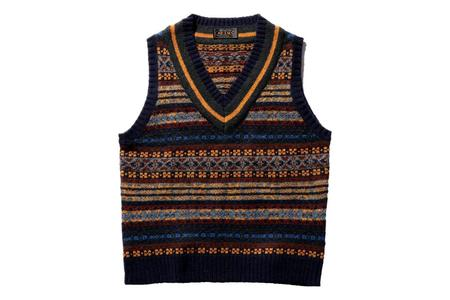 Beams Plus Gim Fair isle Sweater Vest - Navy