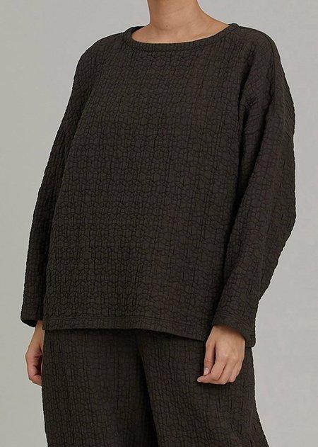 Black Crane Quilted Boyfriend Pullover - Dark Grey