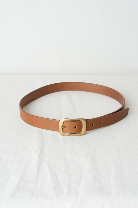 "KikaNY No8 Buckle Belt 1.25"" Wide In Tan"