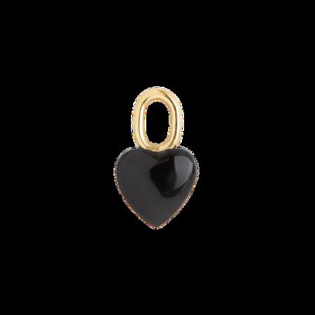 Maria Black Onyx Heart Charm - Gold
