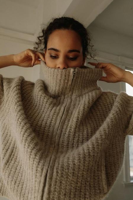 Bare Knitwear Rib Jacket - Sand
