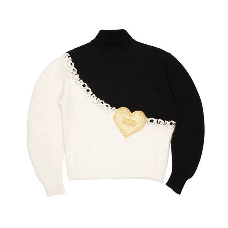 GCDS Heart sweater - black and white