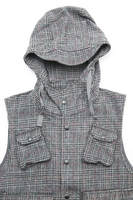 Engineered Garments Poly Wool Glen Plaid Field Vest - Grey/Maroon