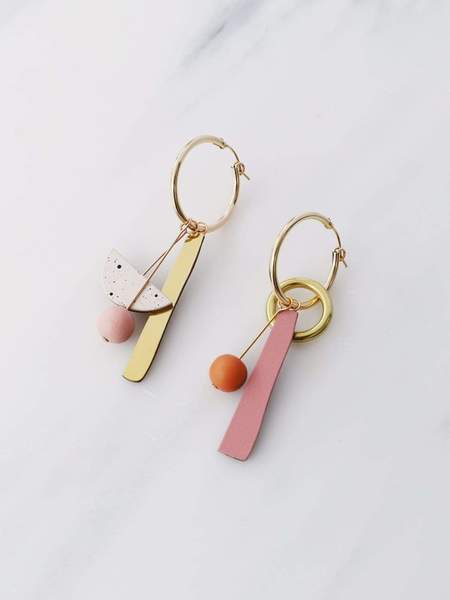 Wolf & Moon Abstract Charm Hoops - Blush