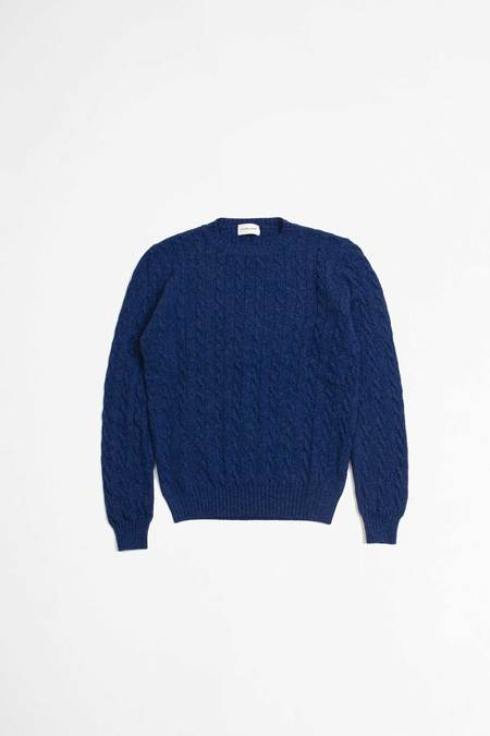 Unisex cable round neck softwool yale Pullover - Blue