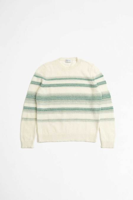 Unisex Scaglione stripes round neck Pullover - shetland water