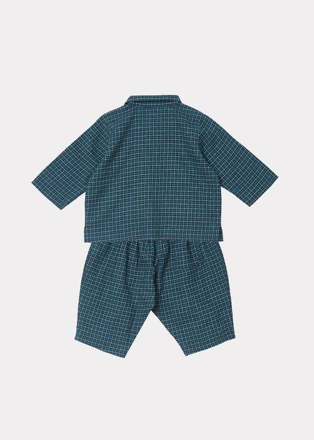 Kids Caramel Flollis Baby Set - Blue Green Check