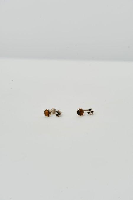 PRE-LOVED Tigers Eye & Amethyst Stud Earrings - SILVER