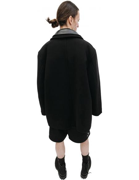 Balenciaga Cashmere Double Collar Embroidered Logo Coat