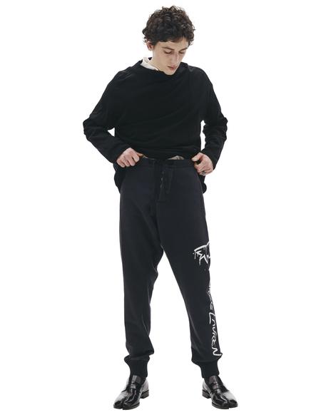 Greg Lauren Paul Shark Cotton Printed Trousers