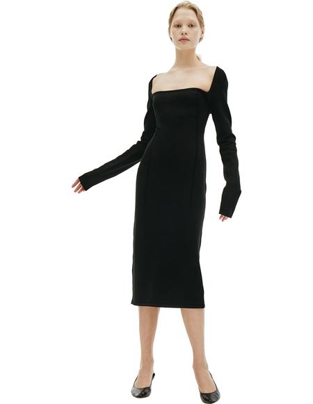 Ann Demeulemeester Black Wool Elongated Dress
