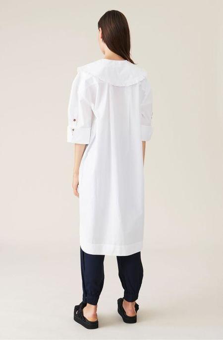 Ganni Oversized Cotton Poplin Shirt Dress - Bright White