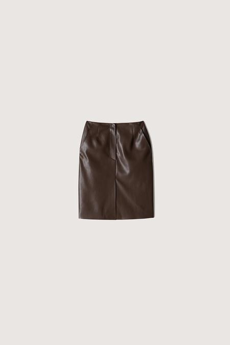 Nanushka Regan Vegan Leather Mini Skirt - Dark Brown