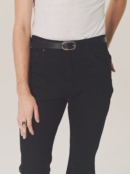 Ernest W. Baker Gold Buckle Leather Belt - Black