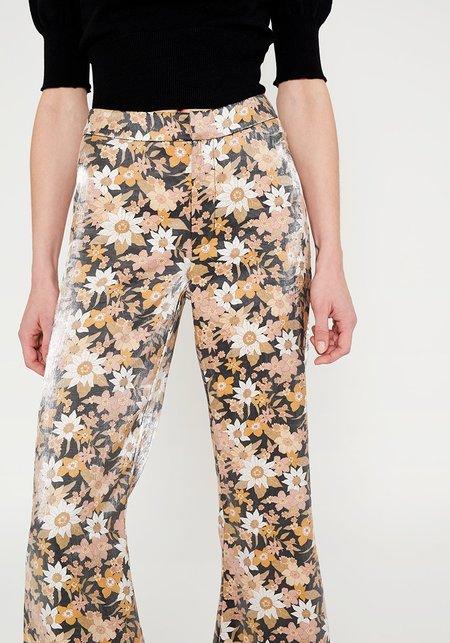 Wild Pony Shiny Flare Floral Pants - MULTI
