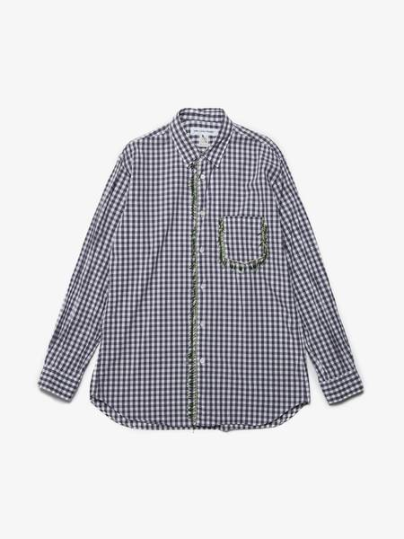 [Pre - Loved] Comme des Garcons Shirt Male Checked Shirt With Beads - Blue