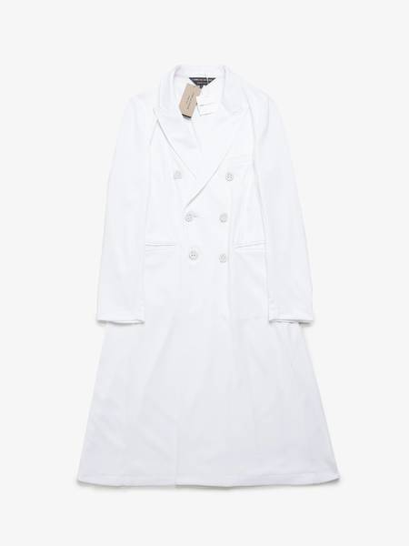 PRE-LOVED Comme Des Garcons Homme Plus Elongated Double Breasted Polyester Coat - white