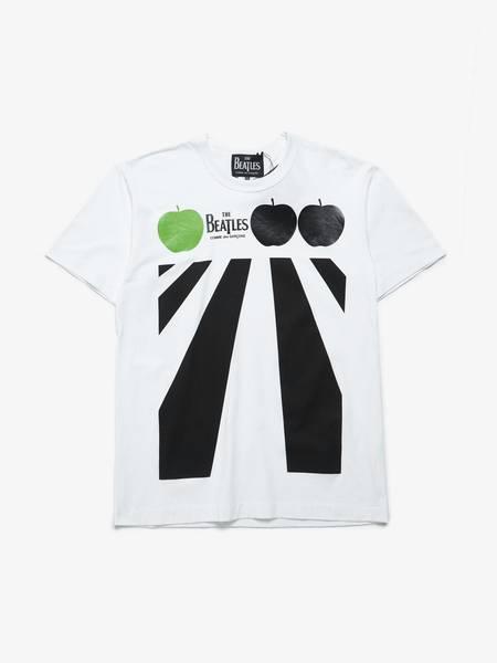 PRE-LOVED  Comme des Garcons The Beatles Collaboration Abbey Road Cotton T Shirt - white