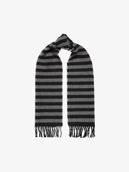 Saint Laurent Paris  Striped Fringed Scarf - Black/Gray