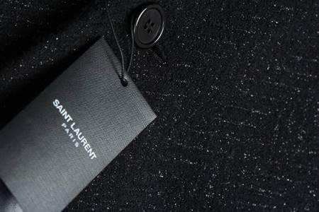 pre-loved Saint Laurent Paris Sparkling Coat - Black