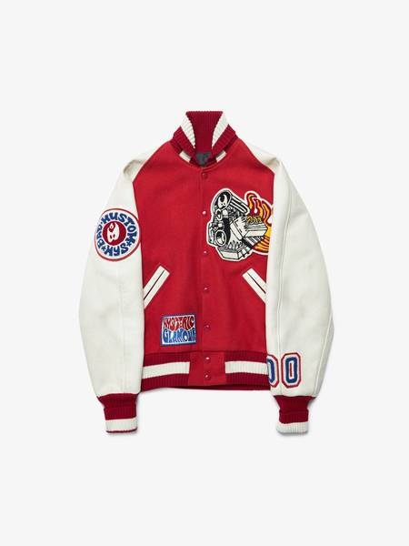 Hysteric Glamour Patched Cotton and Leather Varsity Bomber Jacket - Red/Milk