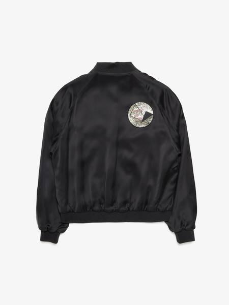 Saint Laurent Paris Satin Sequin Embroidery Bomber - Black