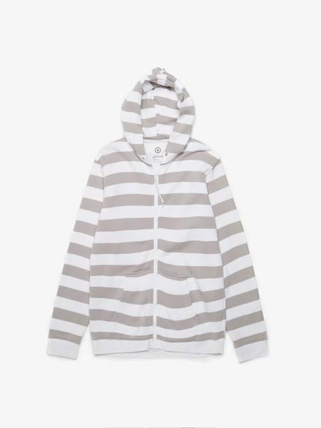 pre-loved Visvim  Zip Up Striped Cotton Hoodie - White/Gray