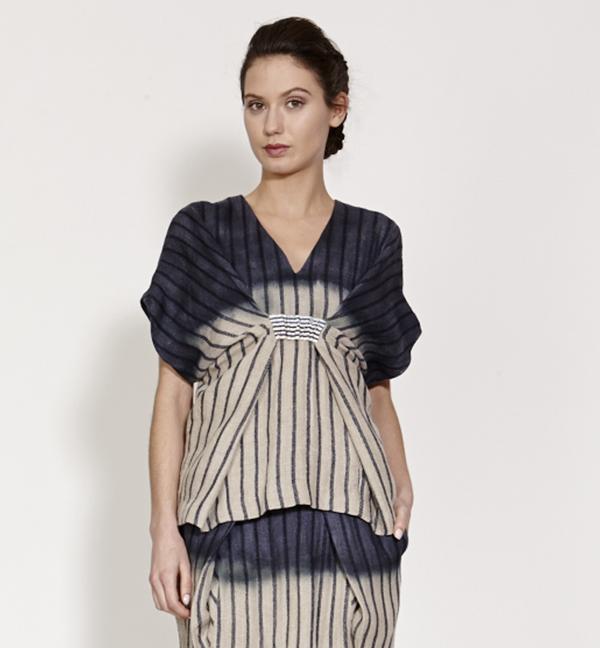 TiA CiBANi Inked sarong wrap V-neck Tee