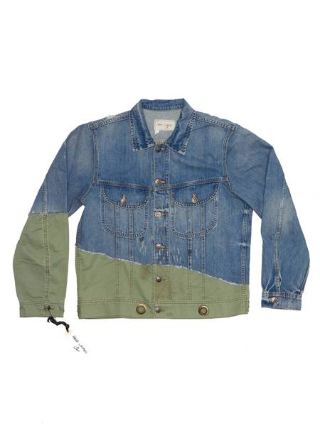 pre-loved Greg Lauren Washed 50/50 Denim and Tent Cotton Jacket - Blue/Faded Khaki