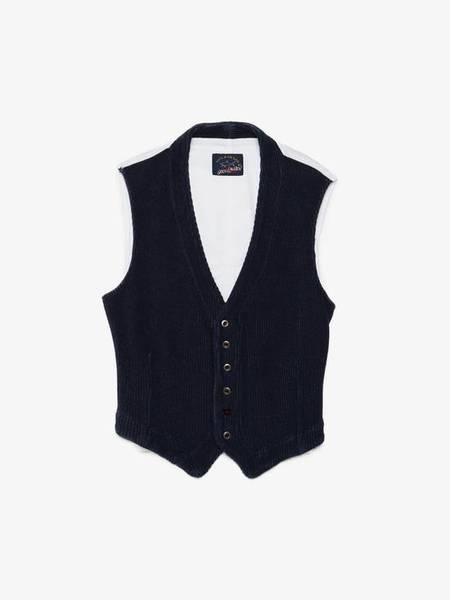 Greg Lauren X Paul & Shark Knitted Waistcoat - blue/White