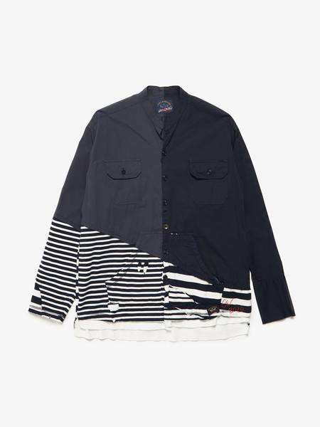 Greg Lauren X Paul & Shark 50 50 Navy Striped Woven Shirt - Navy