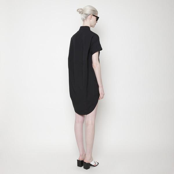 Short Sleeve Shirt Dress PF15 - Black