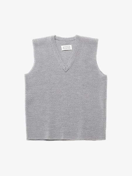 pre-loved Maison Margiela Knitted Wool Vest - light gray
