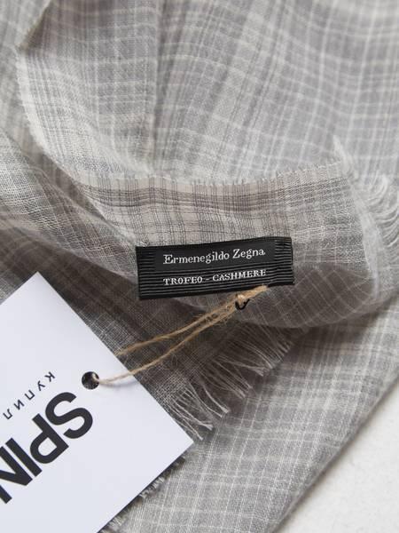 [Pre-Loved]Ermenegildo Zegna Male Light Gray Checked Casmere Scarf